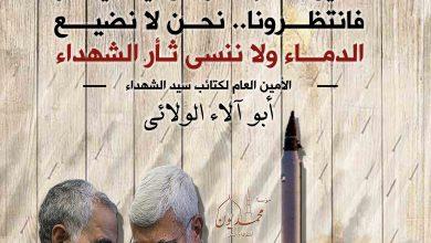 صورة (ما عين الأسد إلا قطرة من غيث سينهمر فانتظرونا.. نحن لا نضيع الدماء ولا ننسى ثأر الشهداء)